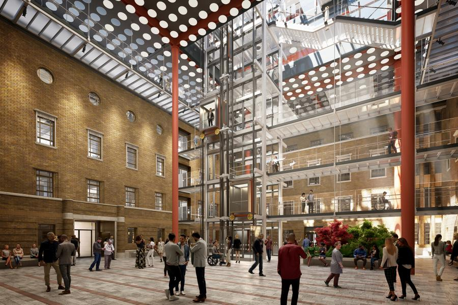 View inside the newly covered courtyard at Hammersmith Town Hall