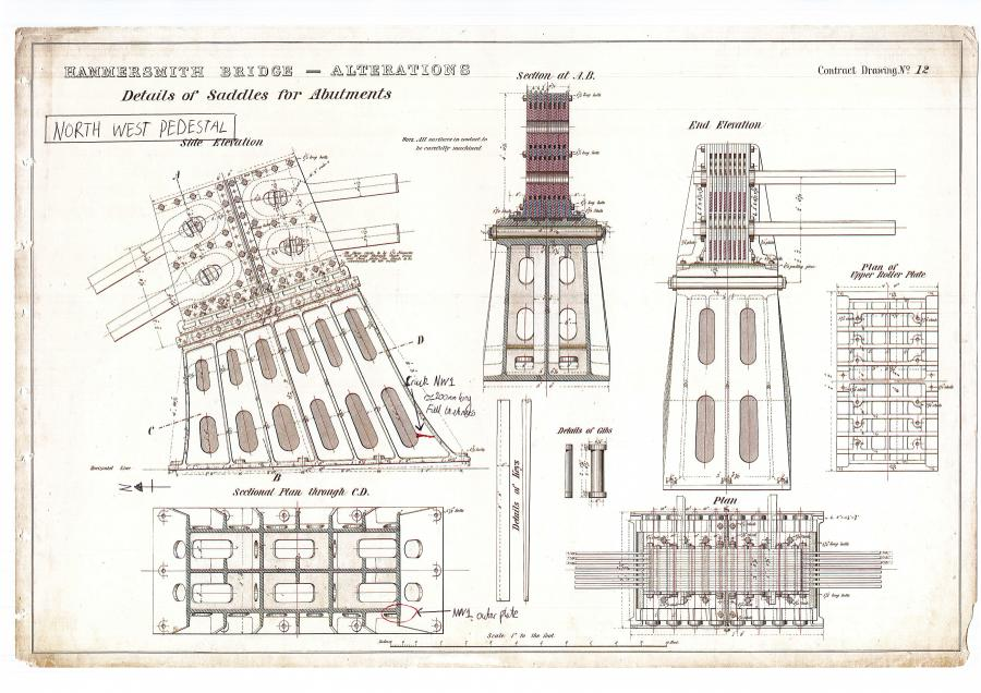 Original Bazalgette architectural drawing showing sections of Hammersmith Bridge