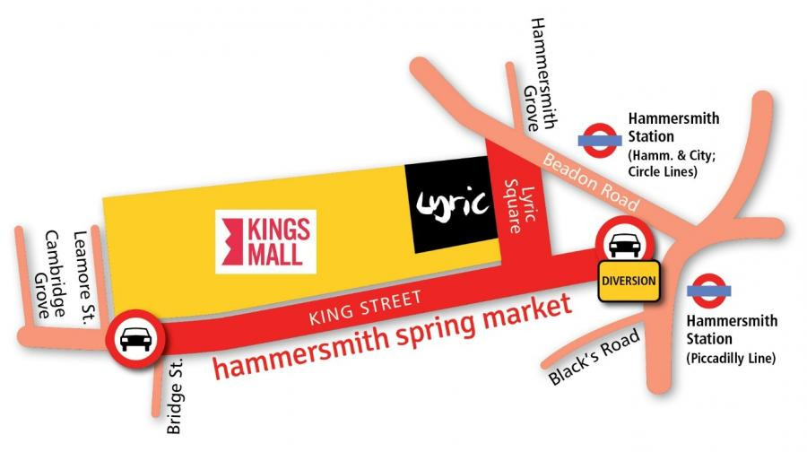Map showing the King Street closure, other nearby street names and the start of the traffic diversion at the eastern end of King Street