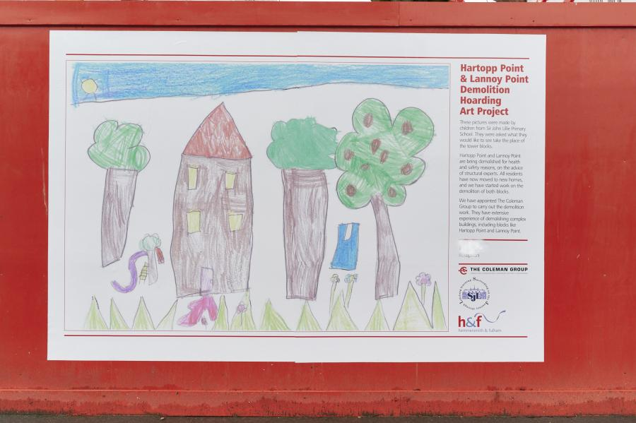 One of the drawings affixed to a hoarding