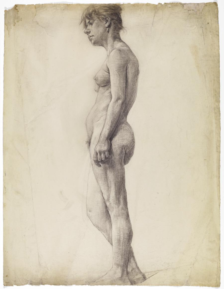 Hartrick's nude study drawing, on loan from the H&F archive