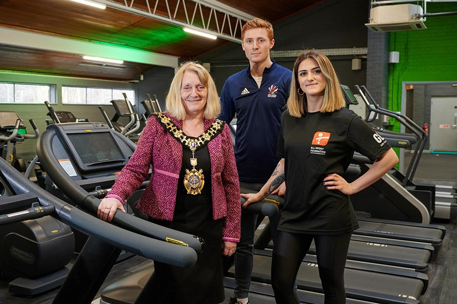 The Mayor of H&F, Daryl Brown with Team GB hockey player Ed Horler and power lifter Megan Chesters