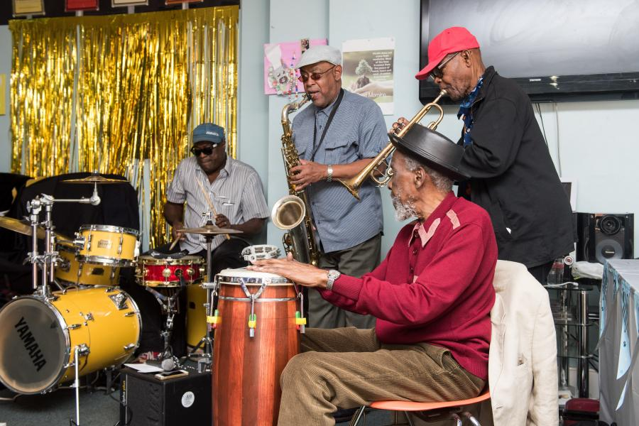 A ska band playing at Hilda Wilson's 100th birthday celebrations