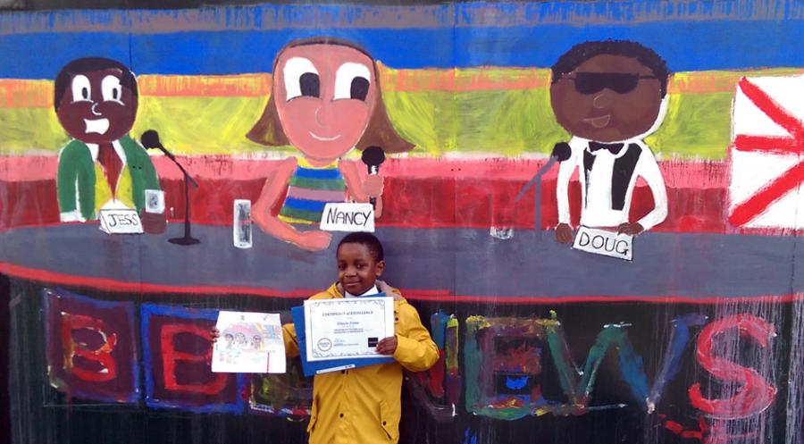 Unashe James from St Stephens Primary School designed an image featuring three BBC News presenters on a colourful background
