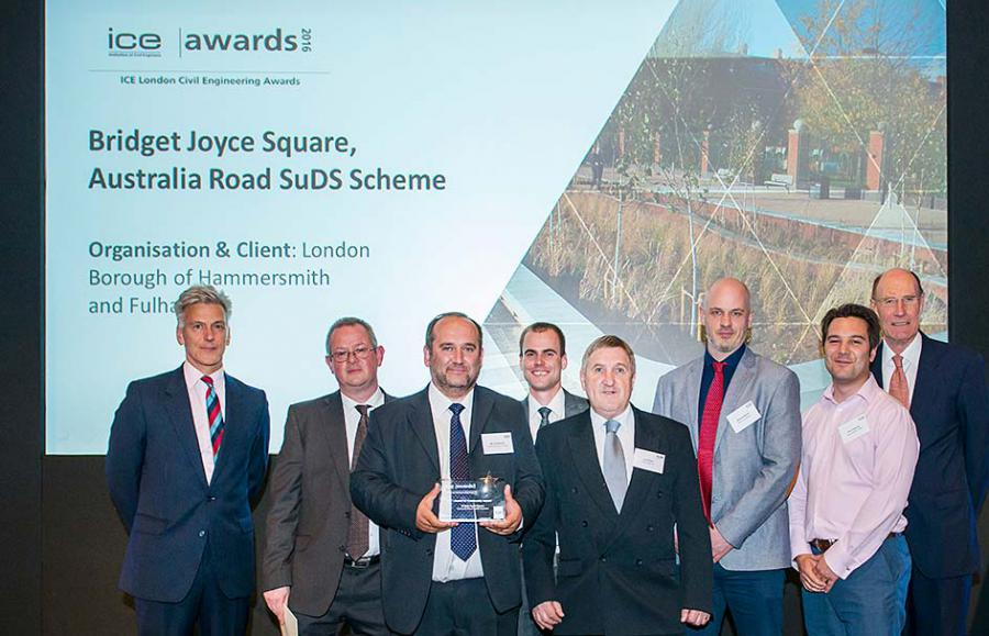 The team behind Bridget Joyce Square celebrate with their award