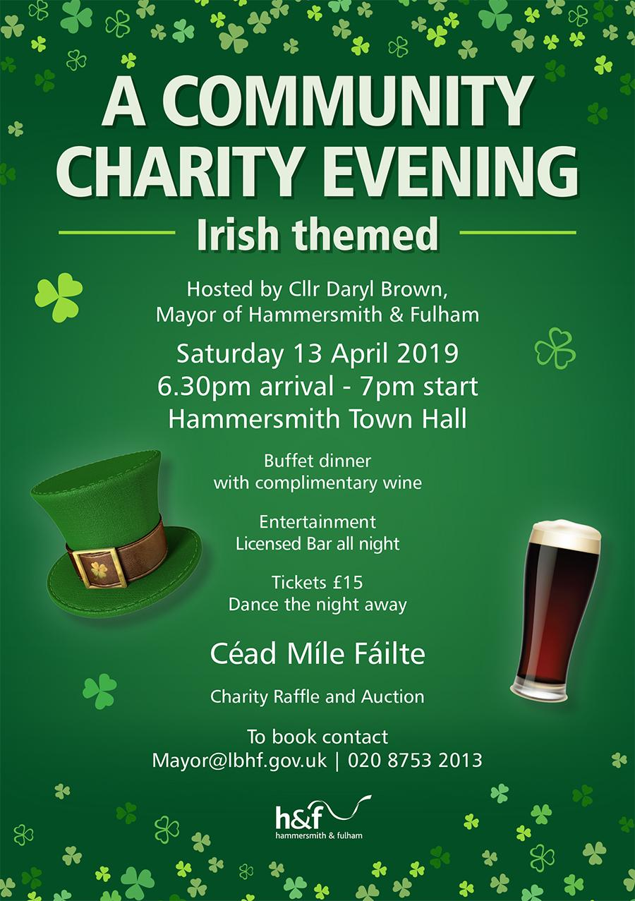 Irish themed community charity evening flyer