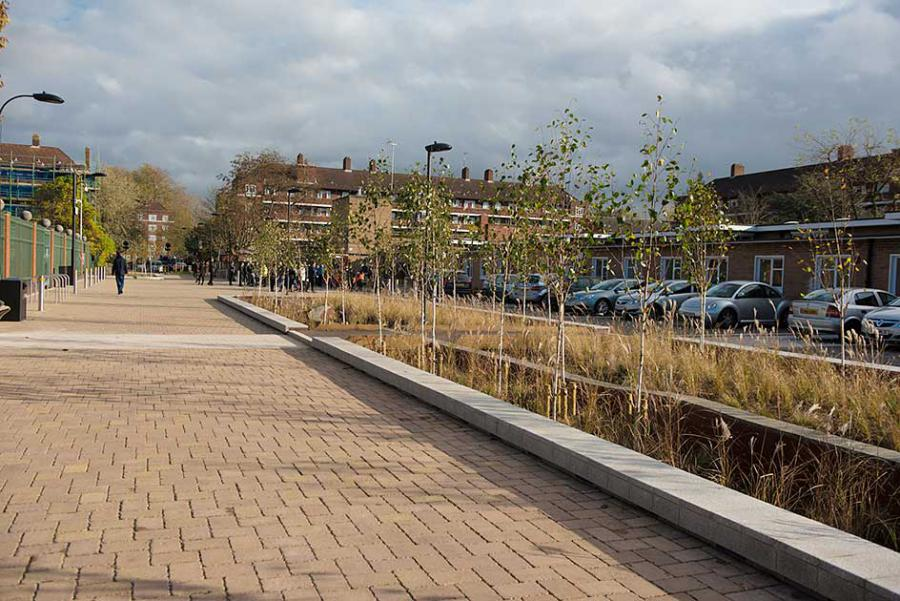 Planted drainage basins in Bridget Joyce Square