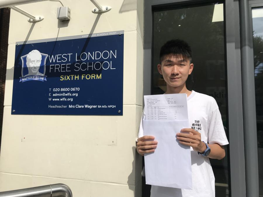 Lawrence Wu from West London Free School picks up his A-level results