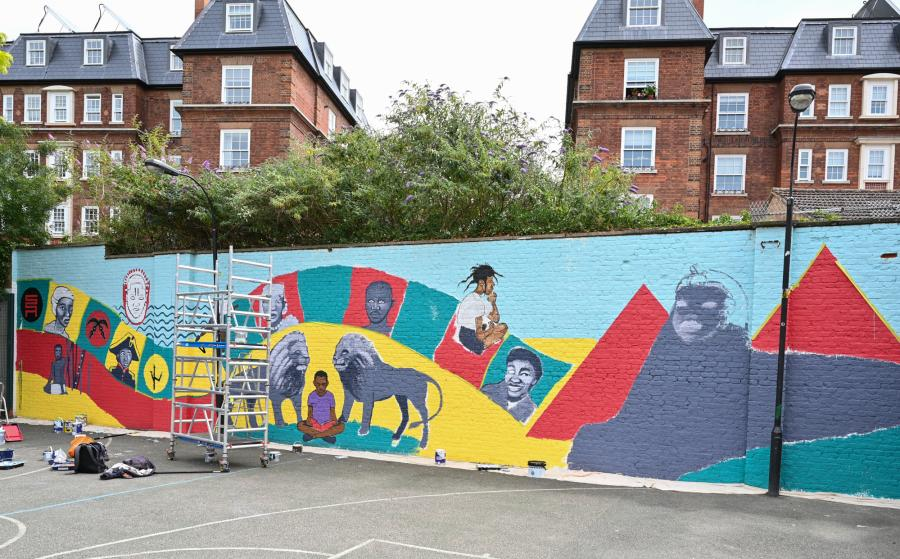The mural in Marcus Garvey Park