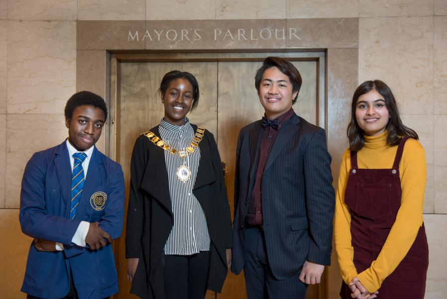 L-R: Young Mayor deputy Joshua Yirenkyi, young Mayor Aminata Koroma, MYP Johnley Videna, MYP deputy Huma Sindhu