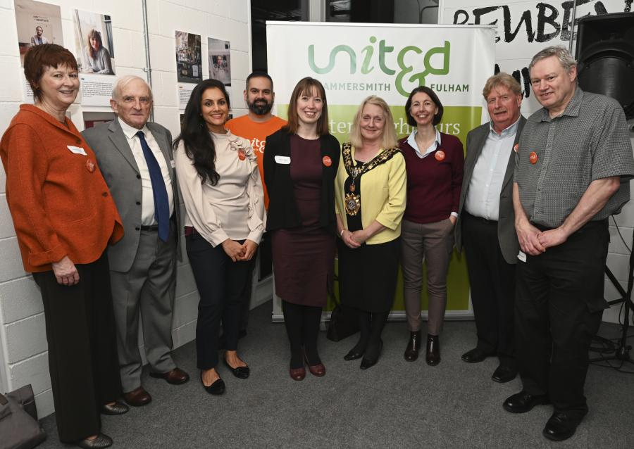 Group of people attending the exhibition launch with the Mayor of H&F, Cllr Daryl Brown