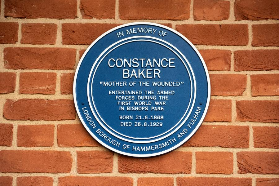 The Constance Baker plaque in Bishops Park
