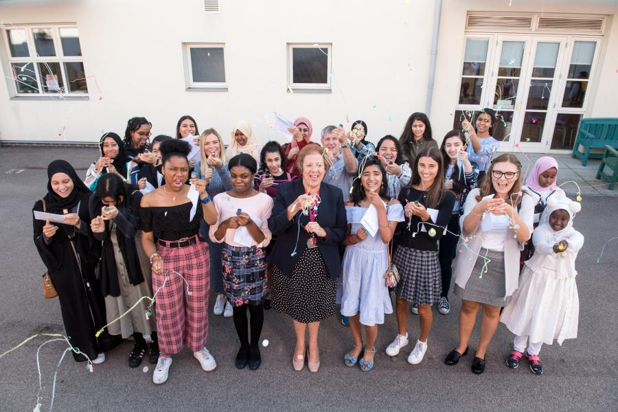 Students and teachers at Fulham Cross Girls school celebrating GCSE results