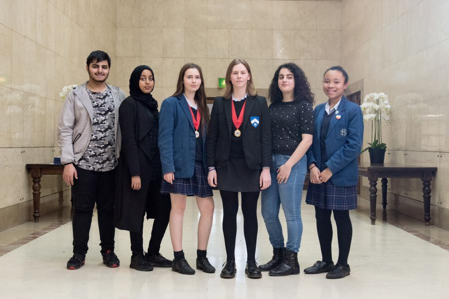 L-R: Abdullah Zalmi, Marwa Mohamed, new Deputy Youth Mayor Maddy Sala, new Youth Mayor Federica Dal Brollo, new Youth MP Emma Ghanem and Amy Simon