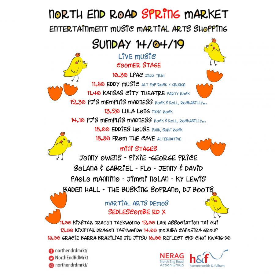 North End Road Spring Market entertainment programme