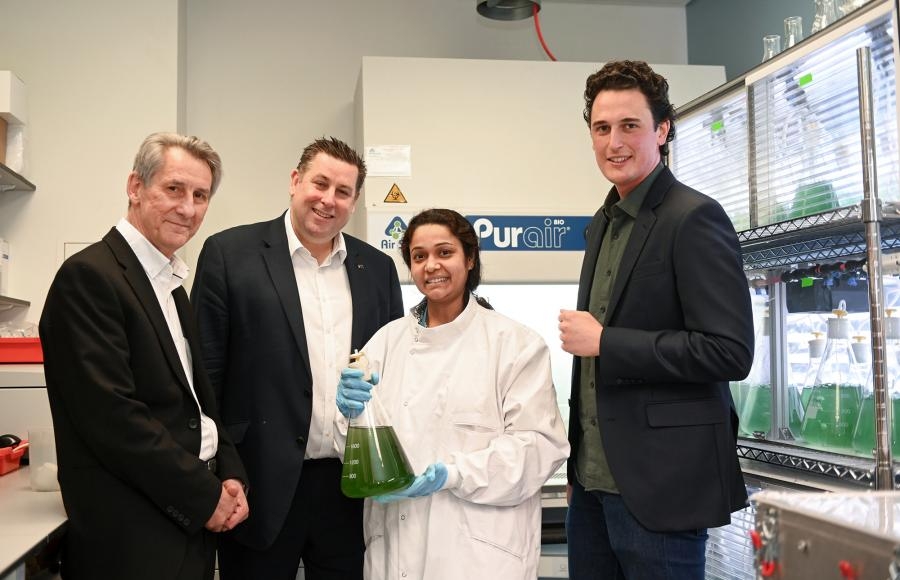Pictured are Professor Neil Alford, Cllr Stephen Cowan, Moumita Ganguly from Arborea, and former Imperial College student Julian Melchiorri, founder of Arborea