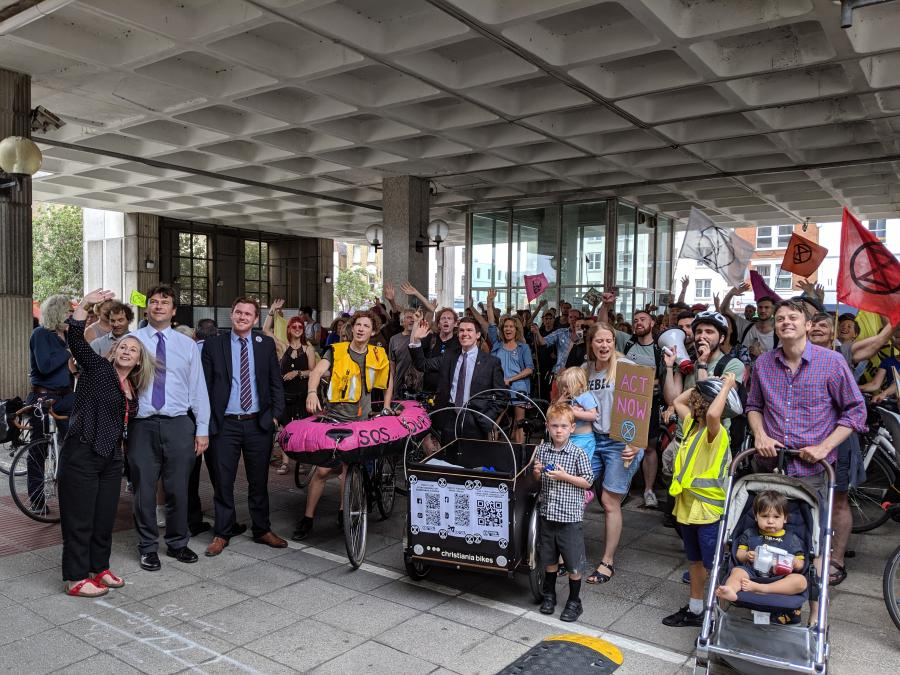 Residents outside Hammersmith Town Hall as part of a call to recognise our climate emergency