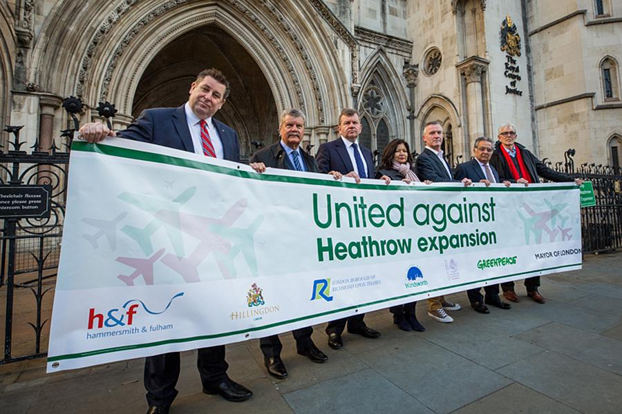 H&F Council's Leader, Cllr Stephen Cowan (far left), joins other council leaders at the High Court for the launch of our judicial review of Heathrow expansion