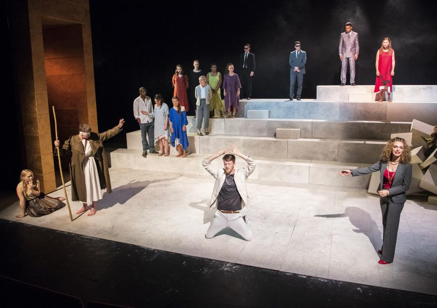 Production photograph of Welcome to Thebes at LAMDA