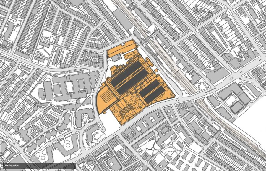 Aerial plan showing the extent of the application site.