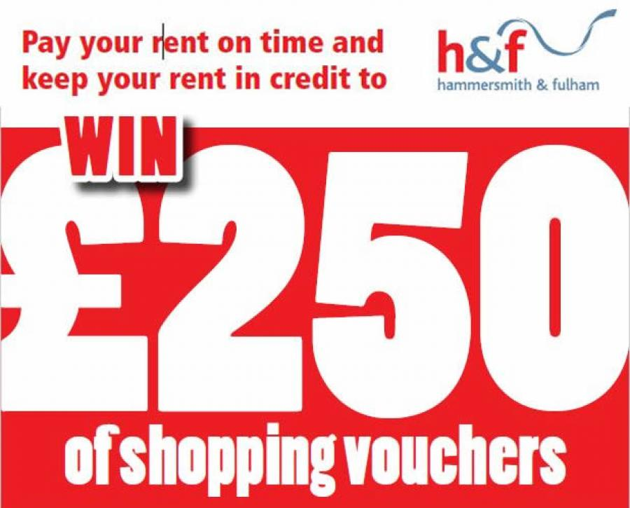 Pay your rent on time and keep your rent in credit to win £250 of shopping vouchers