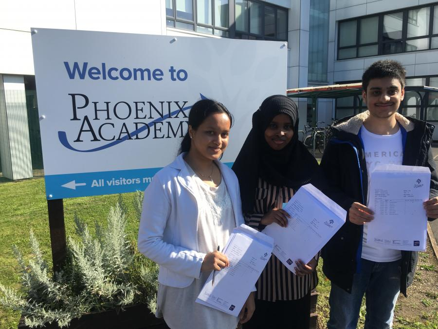 Phoenix Academy students, Ananta, Sucaad and Abdullah with their GCSE results