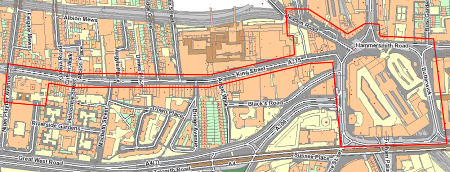 Hammersmith Town Centre PSPO controlled zone map