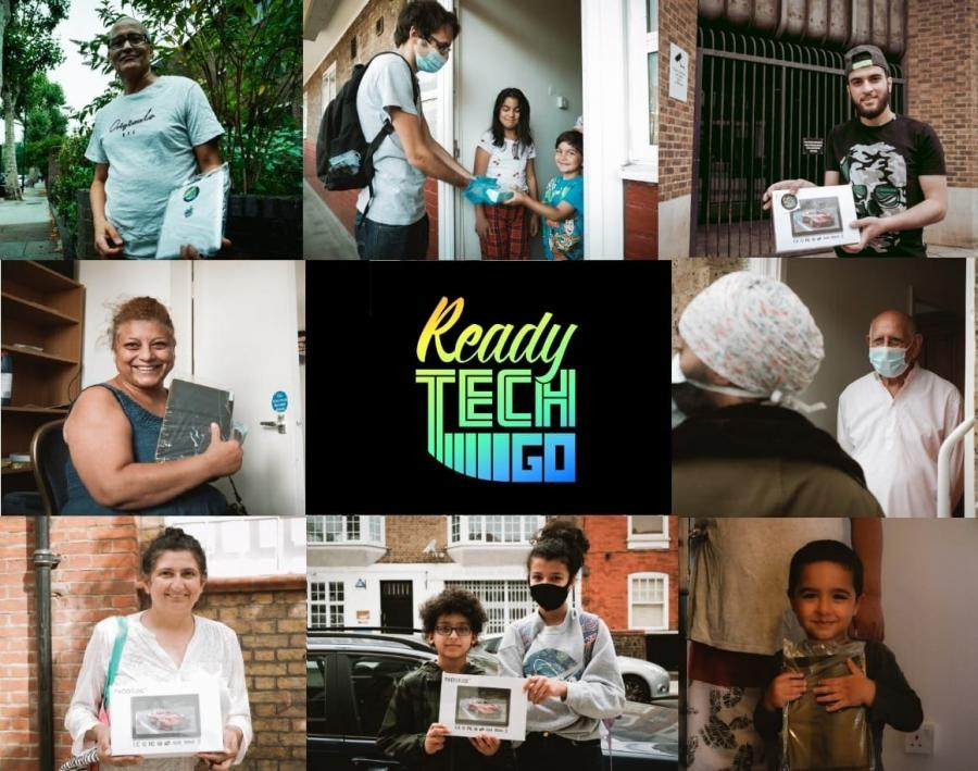 Set of small images showing people holding reconditioned laptops with a company logo in the centre