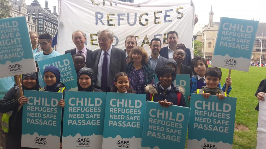 Child refugees demonstration in Parliament Square