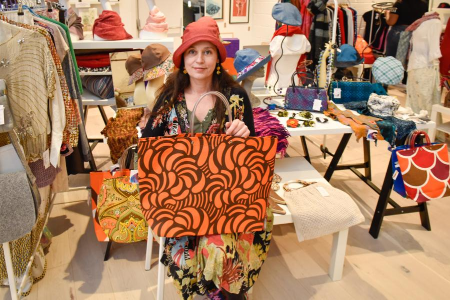 Local trader Sabine Fouchier at the Made in H&F pop-up shop