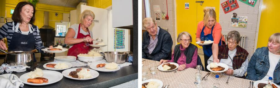 Two photos showing volunteers at the Sands End community kitchen serving up bangers and mash to local residents.