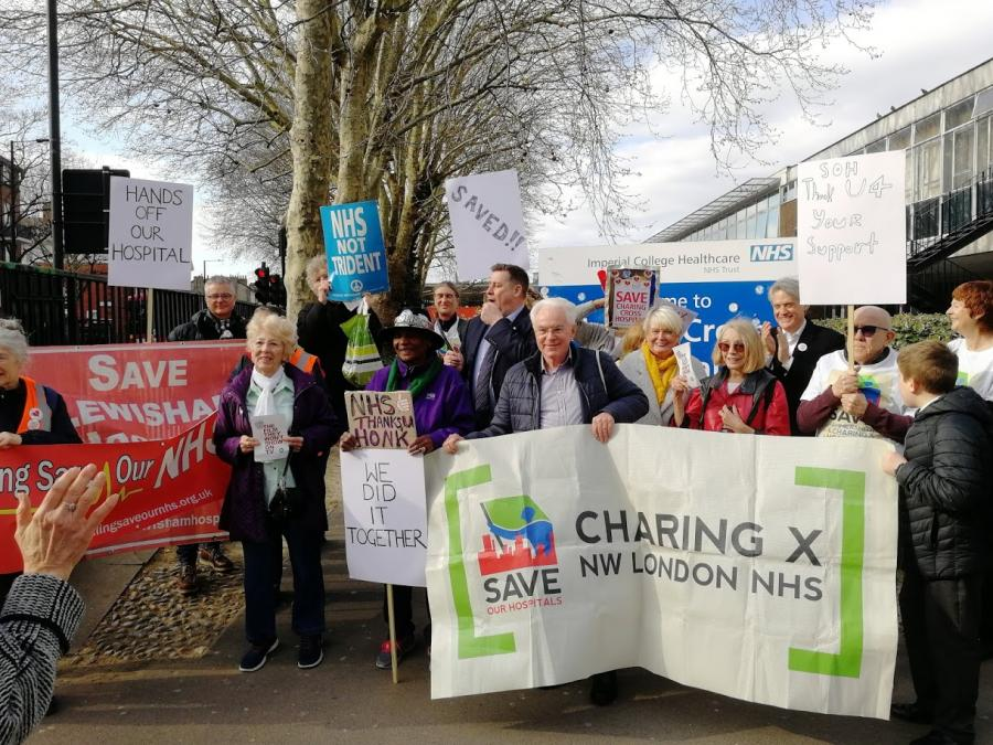 Save Our Hospitals campaigners at Charing Cross Hospital