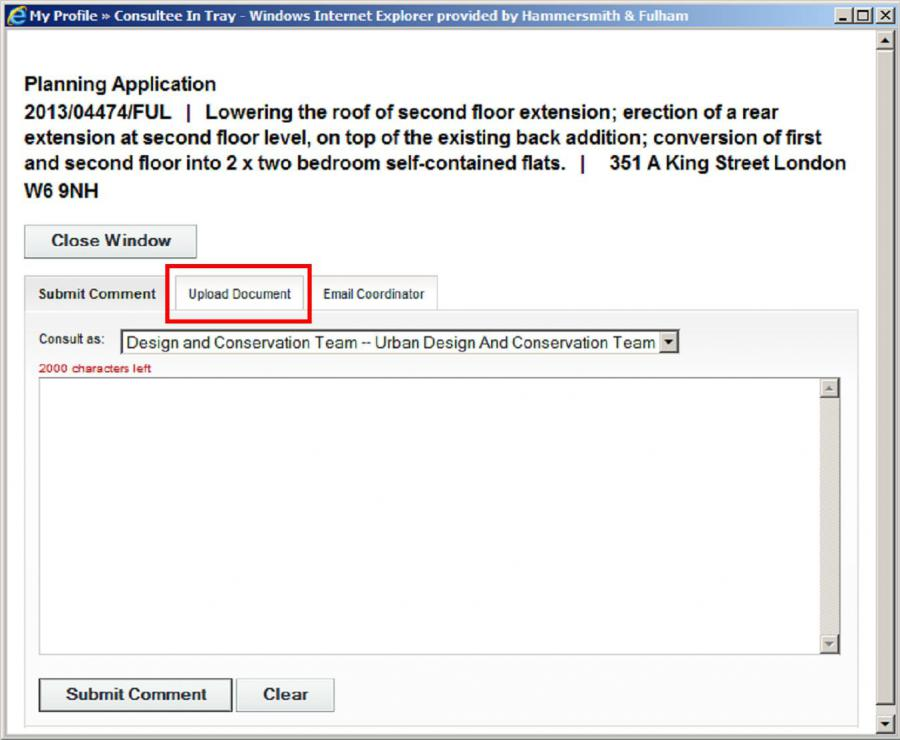 Uploading documents on planning applications