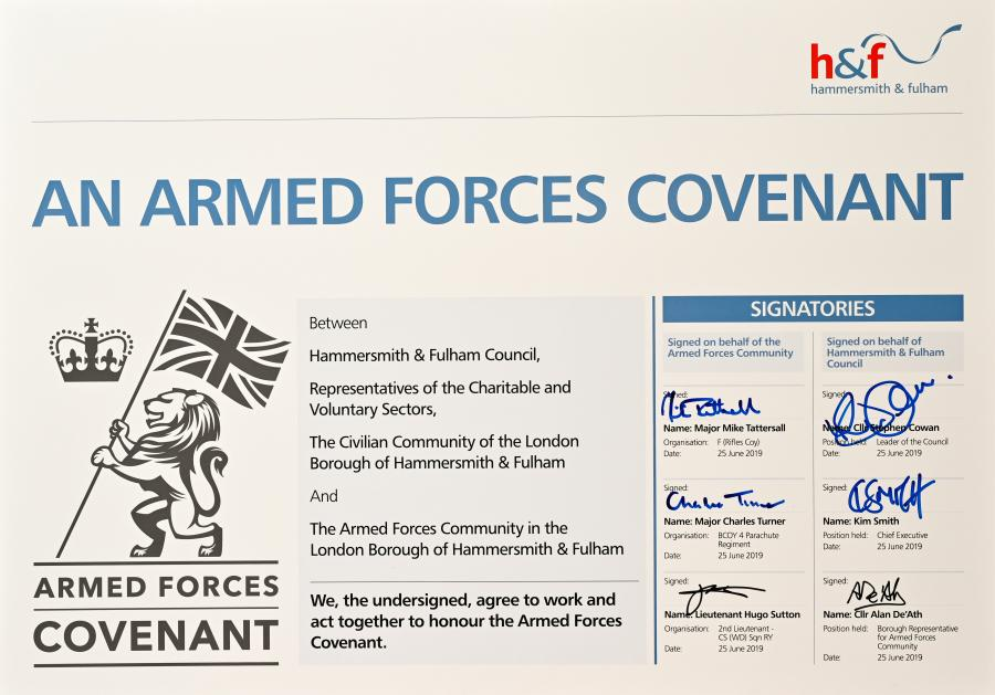 The signed Armed Forces Covenant