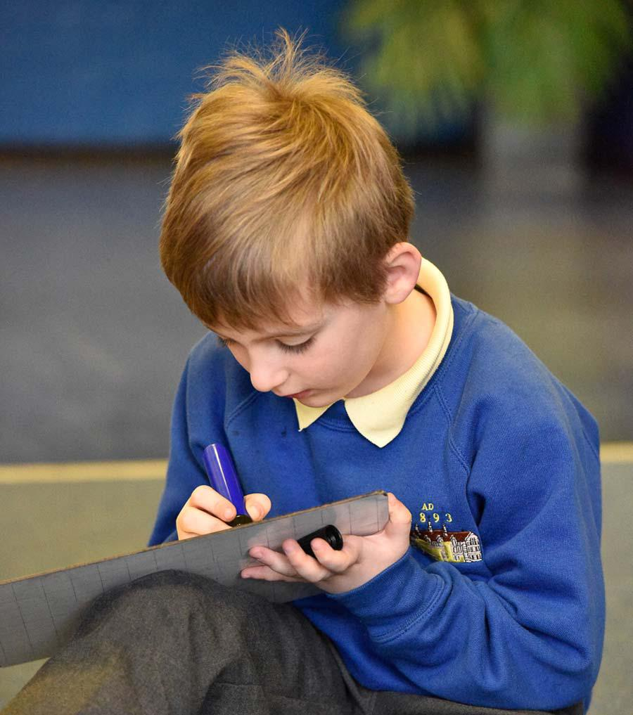 A pupil at Sir John Lillie Primary School