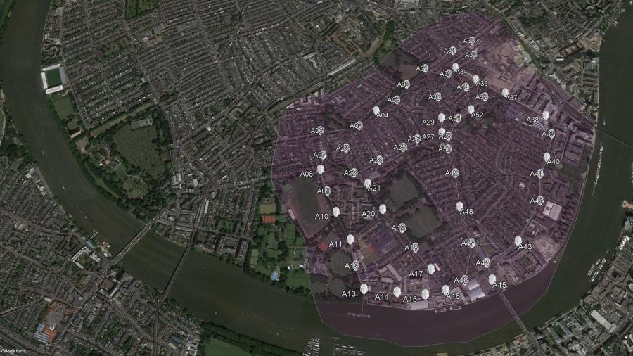 Example aerial map of south Fulham showing markers denoting air quality
