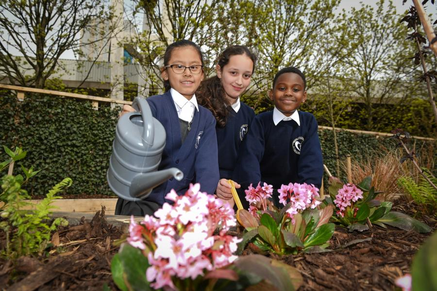 St Paul's primary school pupils in their new pollution-busting woodland garden and outdoor space