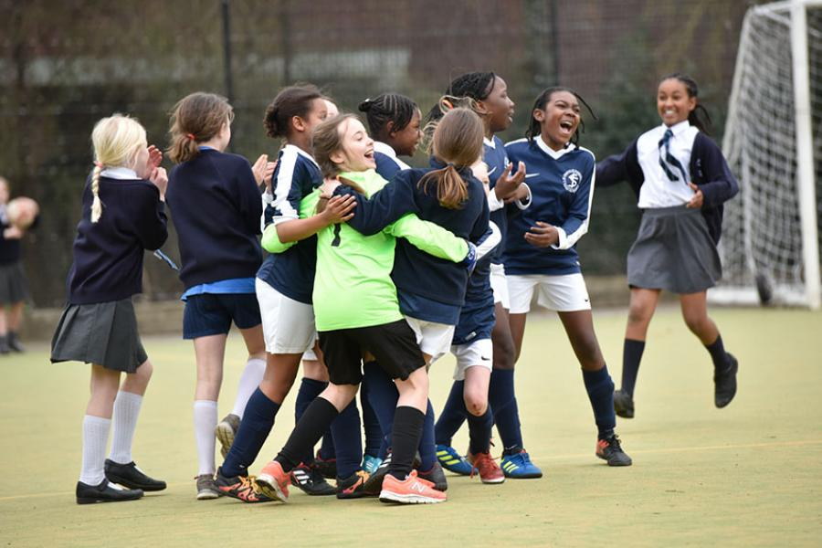St Stephen's celebrating their semi-final win over Addison at the girls' 2019 Mayor's Cup, played at Ravenscourt Park