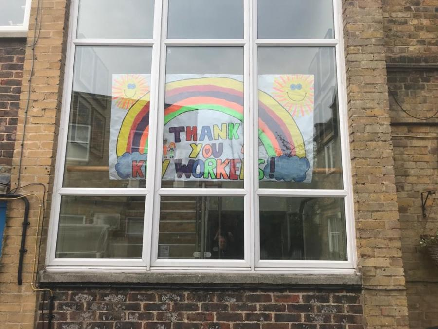 St Stephen's banner displayed in one of the schools' windows