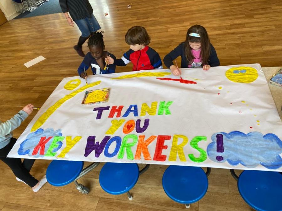 The St Stephen's thank you keyworkers banner on a table in the classroom