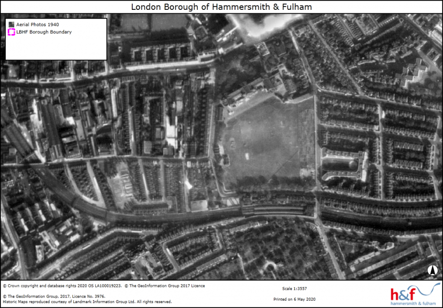 Monchrome aerial view of St Paul's School showing map legends