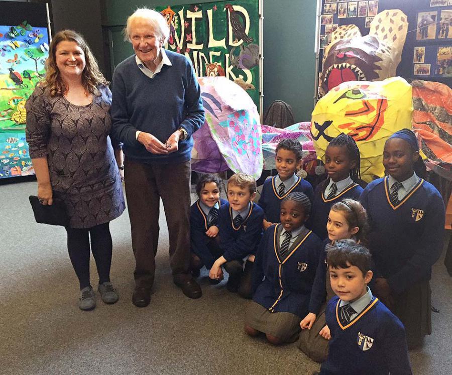 St Thomas Canterbury winners with art teacher Nicola Chance and David Shepherd CBE