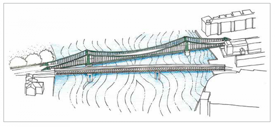 Artist's impression from above showing the temporary bridge spanning the river Thames