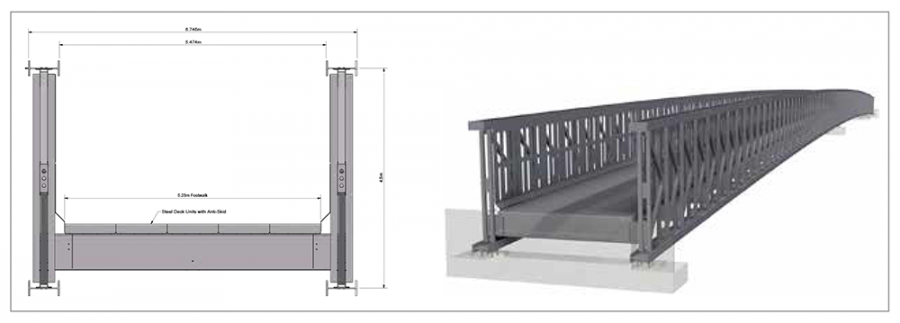 Two sections of the proposed temporary bridge showing detail of the structural elements
