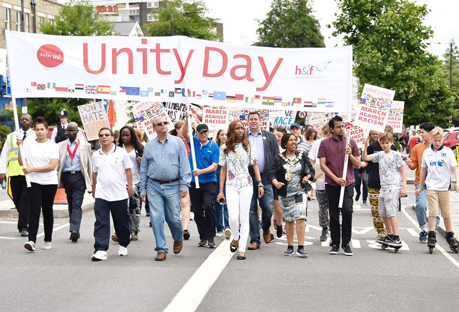 Residents of Hammersmith & Fulham taking part in a march for Unity Day