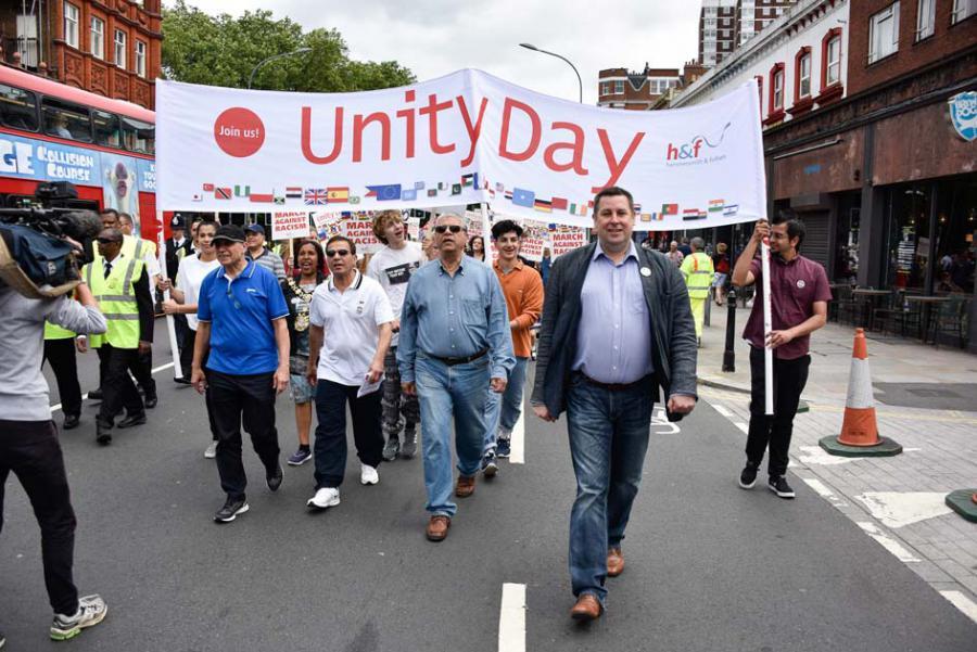 Unity Day march led by Cllr Stephen Cowan