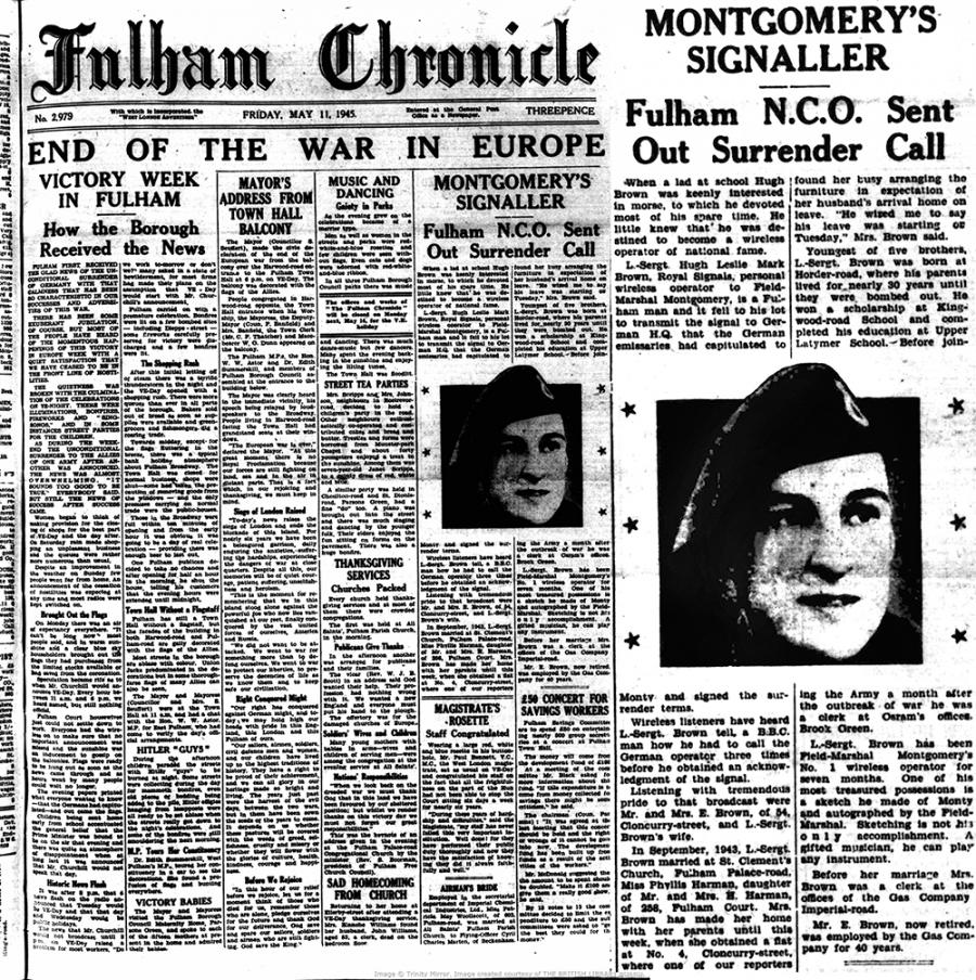 Fulham Chronicle 11 May 1945 - front page of the paper and a call out showing a close up of the article about Lance Sgt Hugh Brown of the Royal Signals