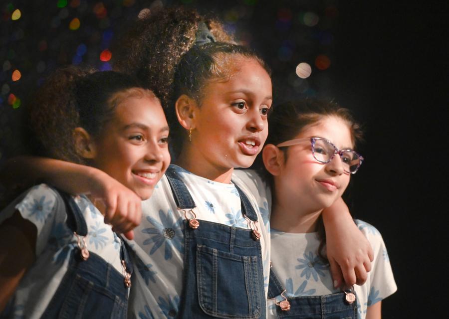 Shukri, Amelia and Sanaa perform in The Greatest Show