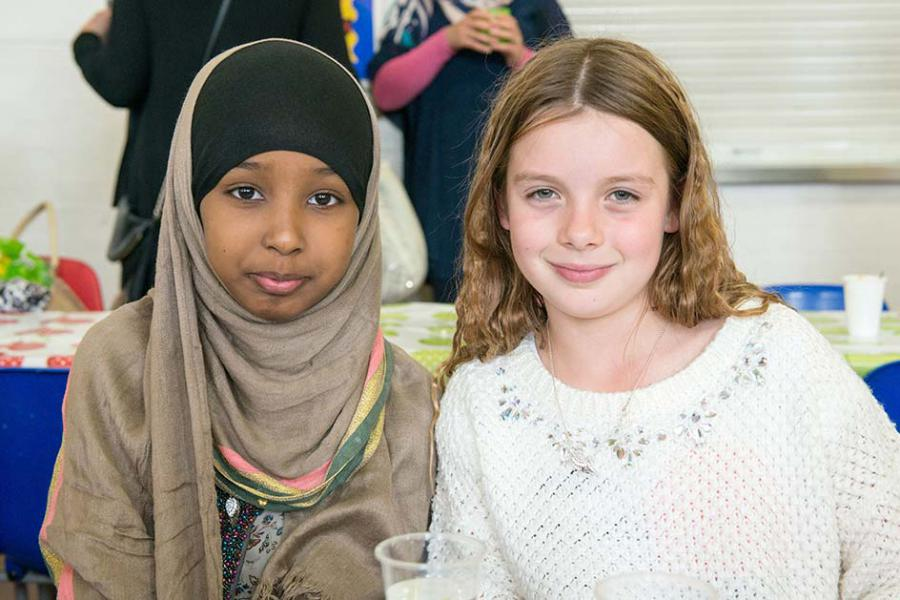Iman Nur, 10 (Left) and Tallula Pye, nine (Right), enjoying the day
