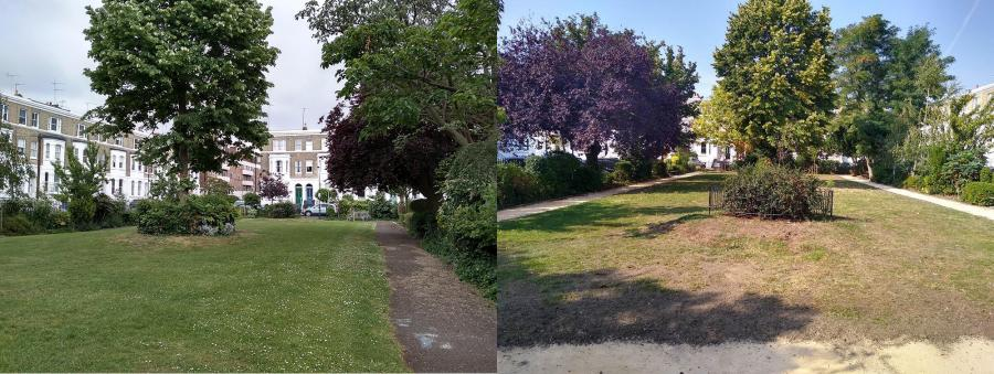 Westcroft square bordered by pavement and a similar view showing the new gravel permeable path in its place